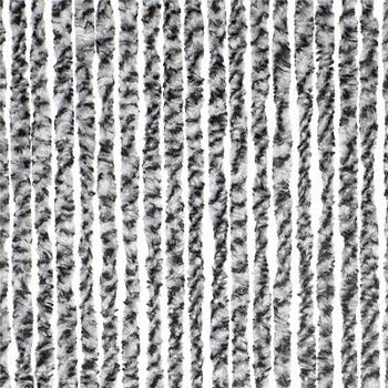Chenille deurgordijn grijs/wit
